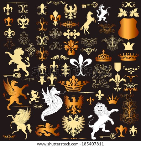 Luxury heraldic elements for  vintage heraldic design - stock vector