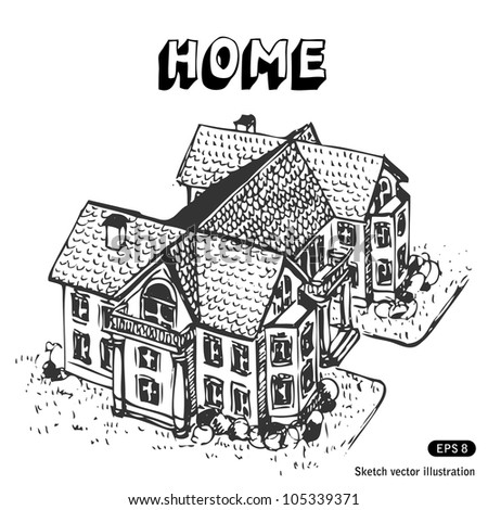 Luxury home. Hand drawn sketch illustration isolated on white background - stock vector