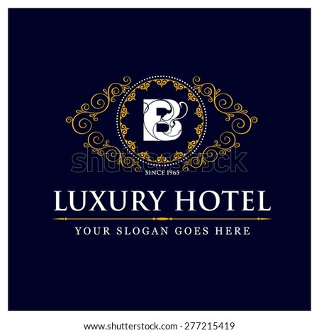 Luxury Hotel Logo template flourishes calligraphic elegant ornament lines. Monogram design elements, Business sign identity for Restaurant, Royalty, Boutique, Cafe, Hotel and other vector illustration - stock vector