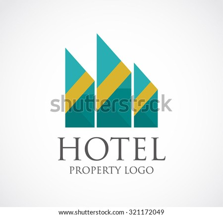 Luxury hotel property abstract vector and logo design or template real estate business icon of corporate and company identity symbol concept - stock vector