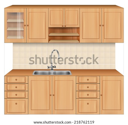 Luxury kitchen room interior with bright wooden texture cabinets and drawers with sink and faucet. beige tiles on wall. Realistic design. vector art image illustration, isolated on white background - stock vector