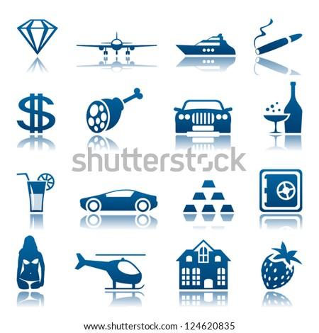 Luxury life icon set - stock vector