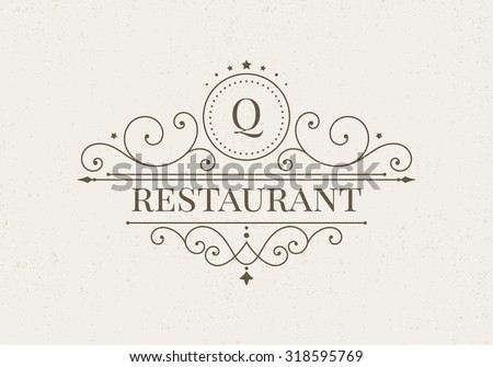 Luxury logo and monogram line art template. Elegant calligraphic ornament pattern. Retro style vector illustration for your restaurant, boutique, hotel, heraldic, jewelry, fashion, business signs. - stock vector