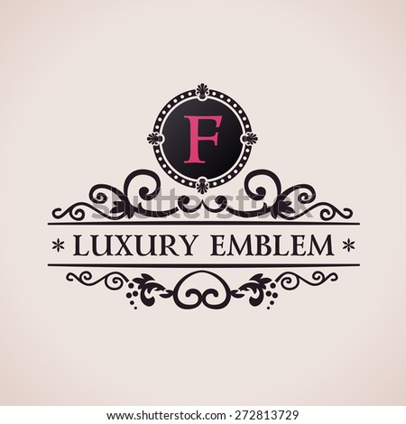 Luxury logo. Calligraphic pattern elegant decor elements. Vintage vector ornament F - stock vector
