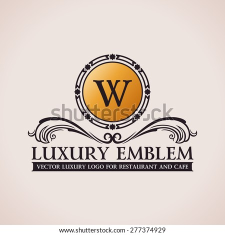 Luxury logo. Calligraphic pattern elegant decor elements. Vintage vector ornament W - stock vector