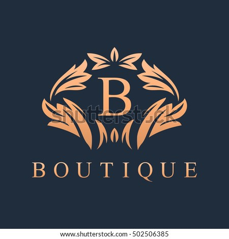Luxury heraldic royal decoration boutique logo stock for Boutique hotel logo