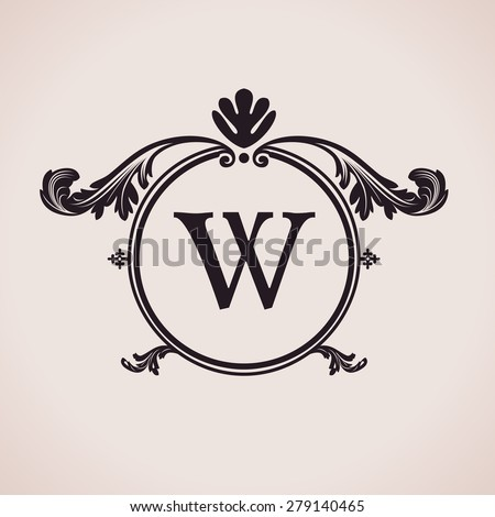 Luxury logo letter clock. Calligraphic pattern elegant decor elements. Vintage vector ornament W - stock vector