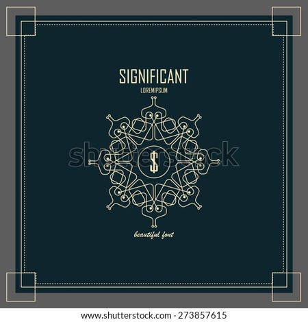 Luxury Logos template flourishes calligraphic elegant ornament lines. Business sign, identity for Restaurant, Royalty, Boutique, Hotel, Heraldic, Jewelry, Fashion and other vector illustration - stock vector