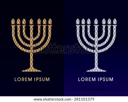 Luxury, Menorah Israel candle, graphic vector. - stock vector
