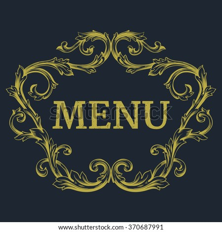 Luxury menu template flourishes calligraphic elegant ornament lines. Business sign, monogram identity for Restaurant, Boutique, Cafe, Hotel, Heraldic, Jewelry, Fashion and other vector illustration - stock vector