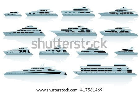 Luxury motor yachts in flat style. Vector icon set - stock vector