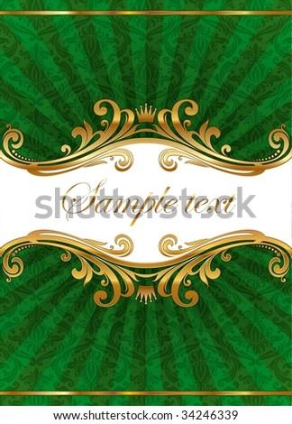 Luxury ornate illustration with golden frame - stock vector