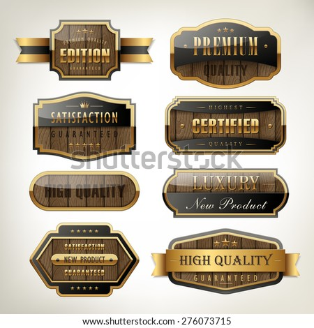 luxury premium quality plates collection with wooden texture over pearl white background - stock vector