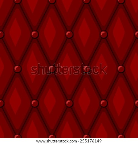 Luxury Red Leather upholstery with Buttons seamless pattern - stock vector