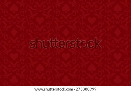 Luxury red poker background with card symbols - stock vector