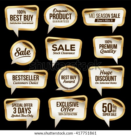 Luxury Sale Stickers Collection. Scroll Paper.