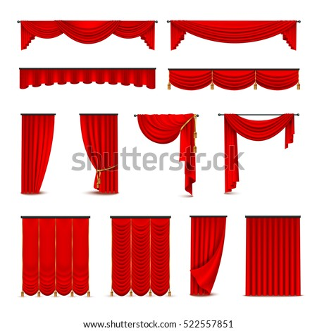 Luxury scarlet red silk velvet curtains and draperies interior decoration design ideas realistic icons collection isolated vector illustration