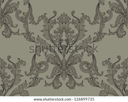 Luxury seamless brown  floral wallpaper. Baroque design - stock vector