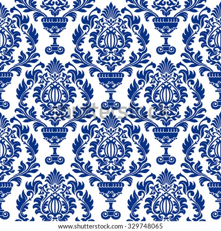 Luxury seamless pattern in trendy damask style. Rich blue ornamentation with floral elements. Vector illustration. - stock vector