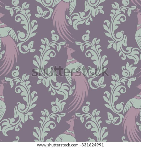 Luxury seamless pattern in trendy damask style. Rich vintage ornamentation with exotic bird peacock and floral elements. Vector illustration. - stock vector