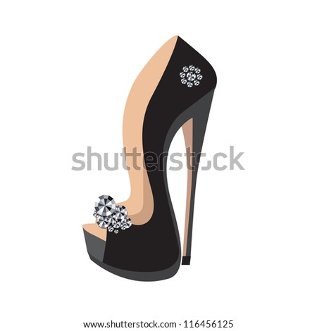 Luxury shoes on a high heel isolated on white background - stock vector