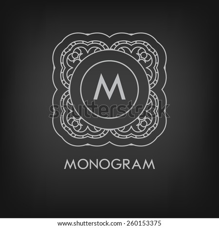 Luxury,simple  and elegant monochrome  monogram design template with letters on chalkboard background. Vector illustration. - stock vector