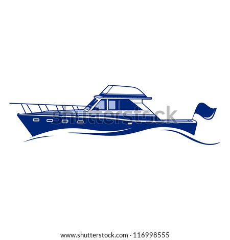 Luxury Speedboat Yacht. Fully Editable Vector Illustration - stock vector
