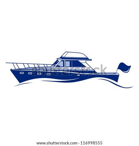 Luxury Speedboat Yacht. Fully Editable Vector Illustration - stock vector
