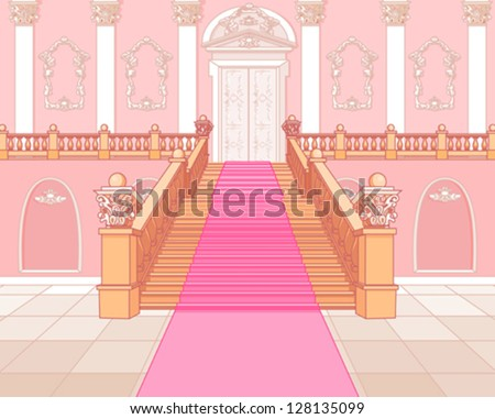 Luxury staircase in the magic palace - stock vector