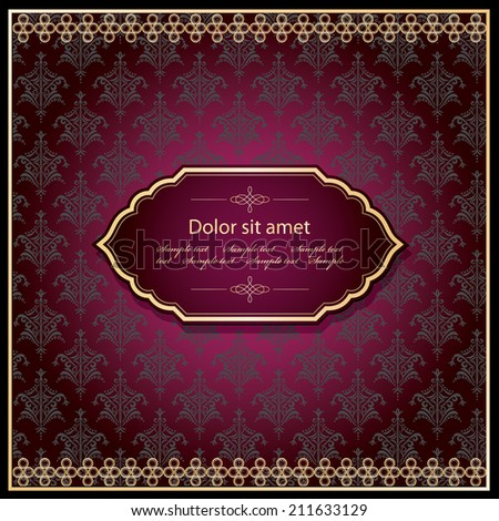 Luxury template. Elegant filigree frame in gold on damask background. - stock vector