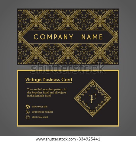 Luxury vintage business card. Vector editable template include front and back side, geometric seamless pattern and contact icons - stock vector