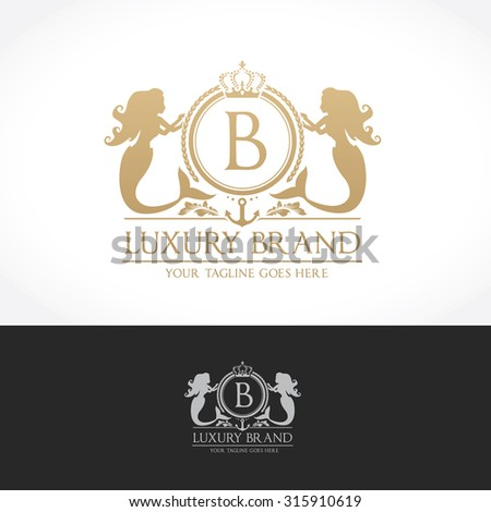 Luxury Vintage, Crests logo collection. Business sign, identity for Restaurant, Royalty, Boutique, Hotel, Heraldic, Mermaid,Fashion ,Real estate,Resort,King, tattoo,Auctions,Vector logo - stock vector