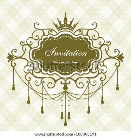 Luxury vintage design frame with crown