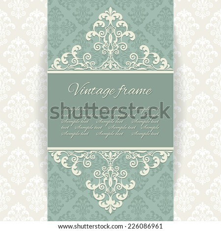 Luxury vintage frame on damask seamless background. Venetian royal style.