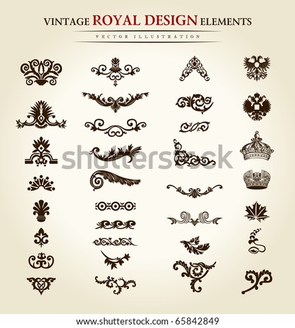 Luxury vintage logo set. Calligraphic emblems and elements elegant decor. Vector ornament for letter. Flower royal design elements set. Vector illustration emblems and logos - stock vector
