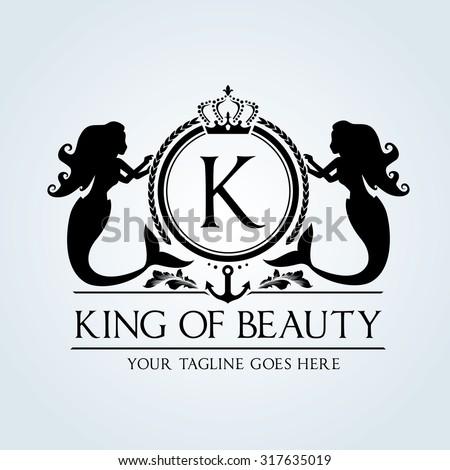 Luxury Vintage, Mermaid,Crest. Business sign, identity,Restaurant logo, Royalty Brand, Boutique, Hotel, Heraldic,education, Fashion ,Real estate,Resort,King, vintage, property,Vector logo template - stock vector