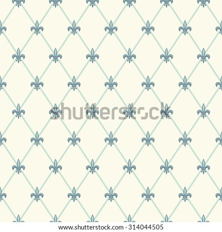 Luxury vintage seamless pattern with turquoise fleur de lis on diamond shape grid background, ideal for curtains, home textile or bed linen fabric or interior wallpaper design etc - stock vector