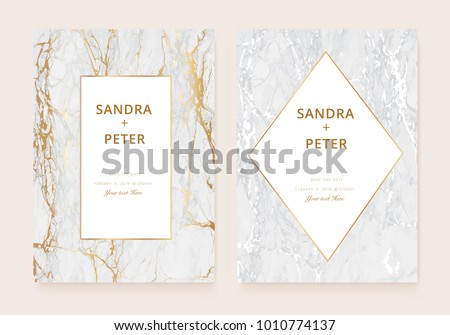 Vetor stock de luxury wedding invitation cards gold marble livre de luxury wedding invitation cards with gold marble texture and golden geometric line vector illustration stopboris Images