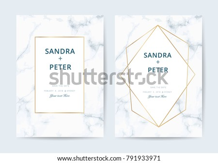 Luxury wedding invitation cards marble texture imagem vetorial de luxury wedding invitation cards with marble texture and golden line vector illustration stopboris Images