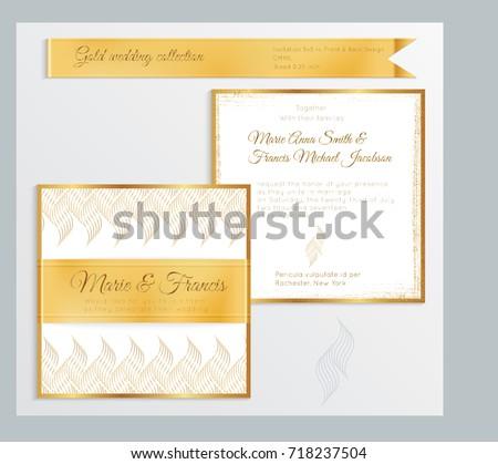 Luxury Wedding Invitation Template Gold Shiny Stock Vector 718237504