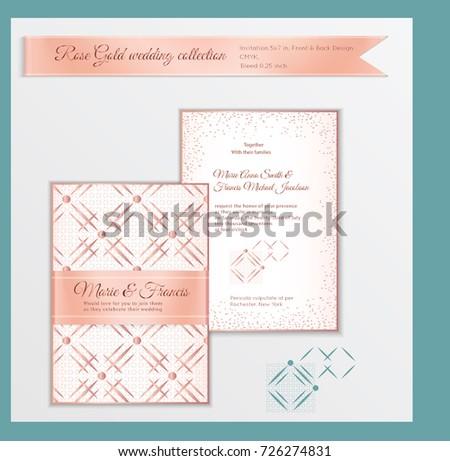 Luxury Wedding Invitation Template Rose Gold Stock Vector 726274831