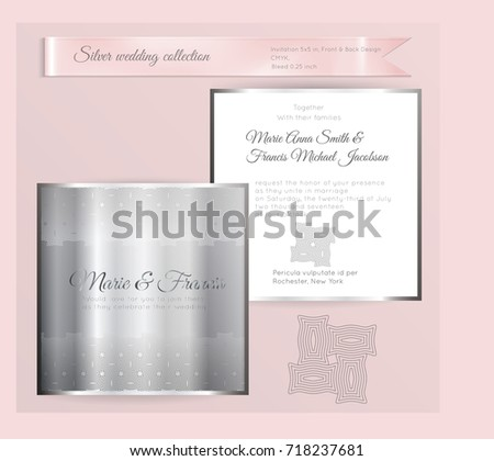 Luxury Wedding Invitation Template Silver Shiny Stock Vector ...