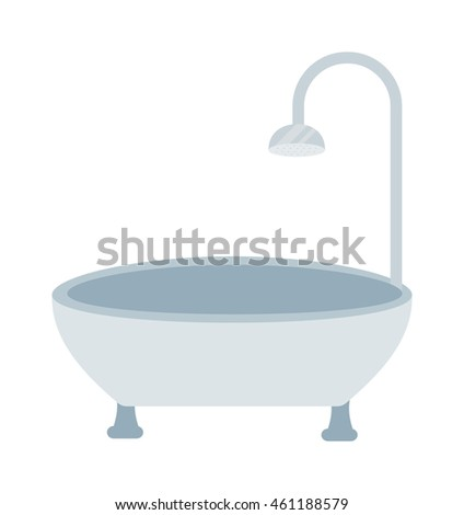Luxury white flat rim top bath isolated on white background. Bath isolated white tub luxury design and bathroom old clean steel bath isolated vector. Bath isolated hygiene water wash.