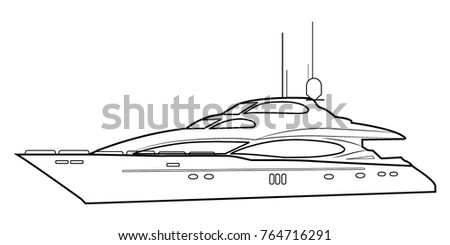 Luxury Yacht Outline Of A Boat