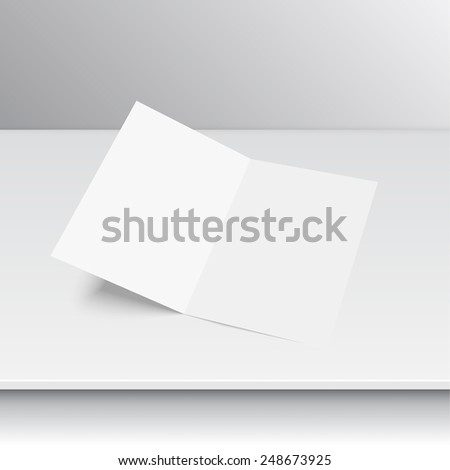 Lying blank two fold paper brochure on a shelf. Open magazine. Cover for your design - stock vector