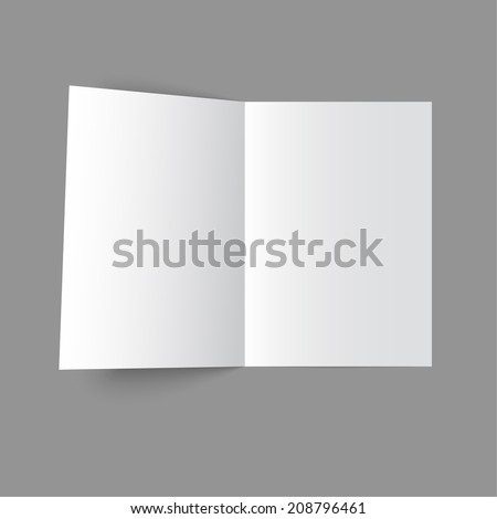 Lying  blank two fold paper brochure on gray background. Open magazine. Cover for your design - stock vector