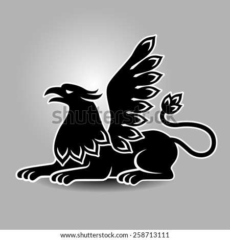 Lying griffin. Heraldic symbol for your design - stock vector