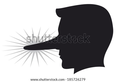 lying man with long nose  - stock vector