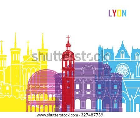 Lyon skyline pop in editable vector file - stock vector
