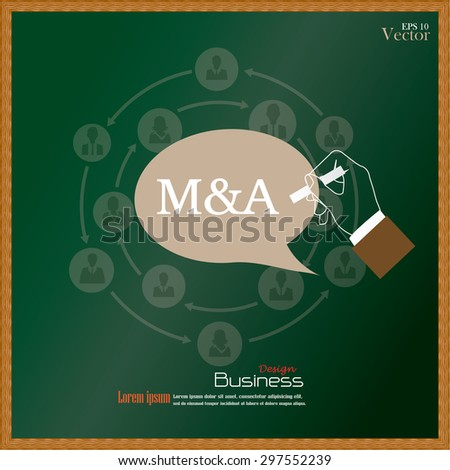 M&A (merger acquisition).hand writing  M&A with  business man network icon on chalkboard.vector illustration. - stock vector